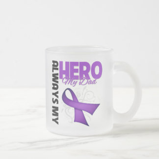 My Dad Always My Hero - Purple Ribbon Frosted Glass Coffee Mug