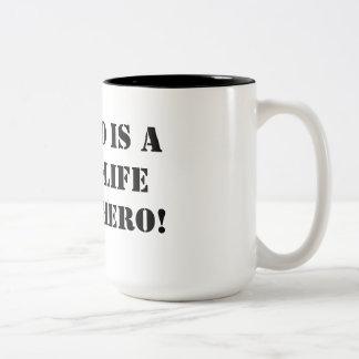 My dad is a real-life superhero! Two-Tone mug