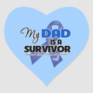 My Dad is a Survivor - Colon Cancer Heart Stickers