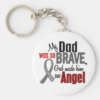 My Dad Is An Angel 1 Brain Cancer Basic Round Button Key Ring