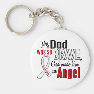 My Dad Is An Angel Lung Cancer Basic Round Button Key Ring