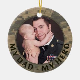 My Dad My Hero Military Custom Soldier Photo Christmas Ornament