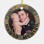 My Dad My Hero Military Custom Soldier Photo Round Ceramic Decoration