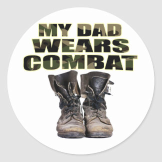My Dad Wears Combat Boots Round Stickers