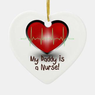 My daddy is a nurse ceramic heart decoration