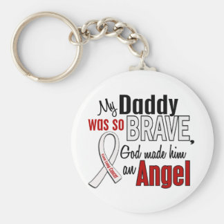 My Daddy Is An Angel Lung Cancer Basic Round Button Key Ring