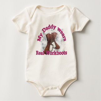 My Daddy wears real Workboots(pink) Baby Bodysuit