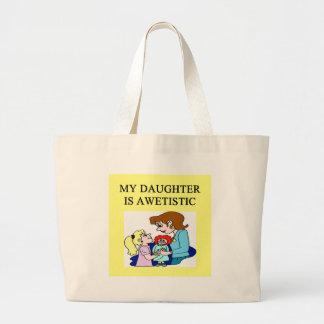 my daughter is autistic jumbo tote bag