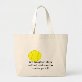 , my daughter plays softball and she can... jumbo tote bag