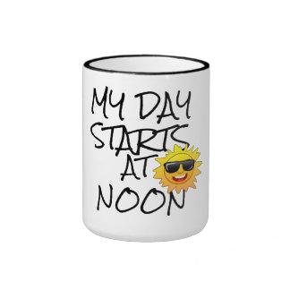 my day start at noon cute funny coffee mug design