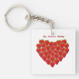 My Dearest  Hubby Single-Sided Square Acrylic Key Ring
