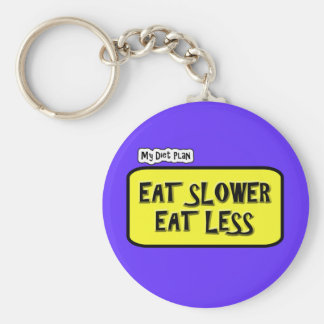 My Diet Plan ... Eat Slower  Eat less Basic Round Button Key Ring