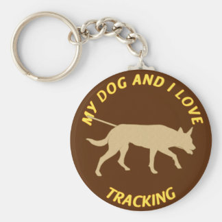 My Dog And I Love Tracking Basic Round Button Key Ring