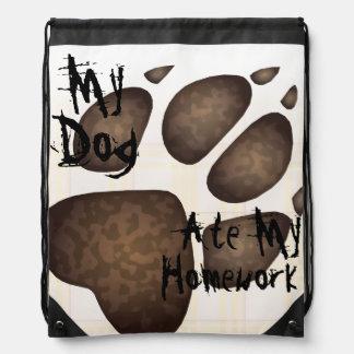 """My Dog Ate My Homework"" Doggie Paw Print - Brown Drawstring Bag"