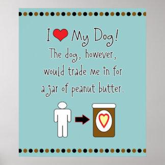 My Dog Loves Peanut Butter Poster