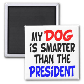 My Dog Smarter Than President Square Magnet