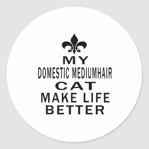 My Domestic mediumhair Cat Make Life Better Round Stickers
