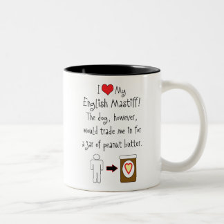 My English Mastiff Loves Peanut Butter Two-Tone Mug