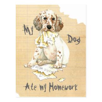 My English Setter Ate My Homework Postcard