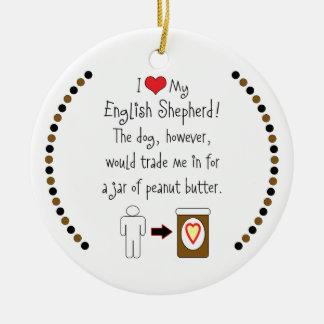 My English Shepherd Loves Peanut Butter Christmas Ornament