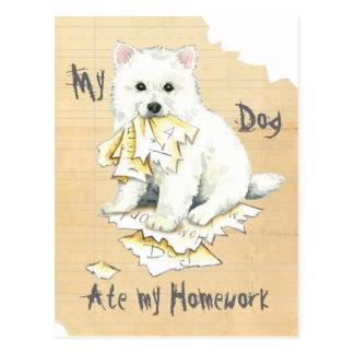 My Eskie Ate My Homework Postcard