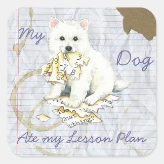 My Eskie Ate My Lesson Plan Square Sticker