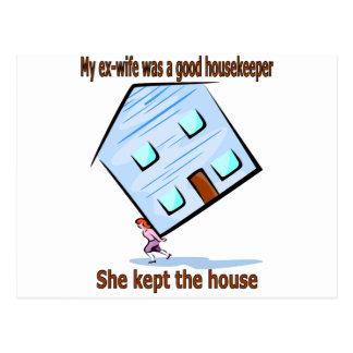 My ex-wife was a good housekeeper postcard