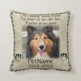 My Faithful Friend Pet Sympathy Custom Burlap Cushion