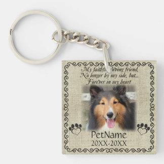 My Faithful Friend Pet Sympathy Custom Burlap Key Ring