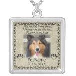 My Faithful Friend Pet Sympathy Custom Burlap Square Pendant Necklace