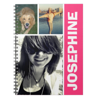 My favorite things hot pink photo collage journal spiral notebook