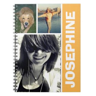 My favorite things orange photo collage journal notebook