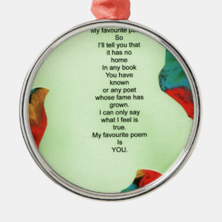 my favourite poem Silver-Colored round decoration