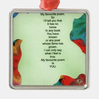 my favourite poem Silver-Colored square decoration