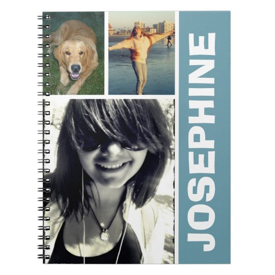 My favourite things blue photo collage journal