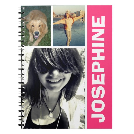 My favourite things hot pink photo collage journal