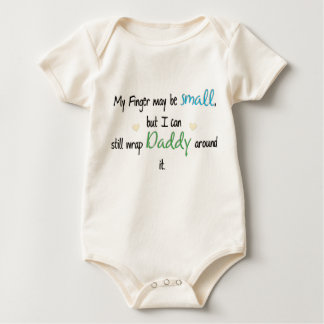 My Finger may be small...(Blue & Green) Baby Bodysuit