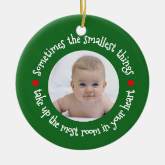 My First Christmas Baby Add a Photo Holiday Green Round Ceramic Decoration