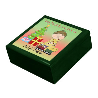 My First Christmas Boy Gift Box/Trinket Box Large Square Gift Box