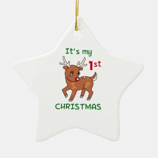 MY FIRST CHRISTMAS CERAMIC STAR DECORATION