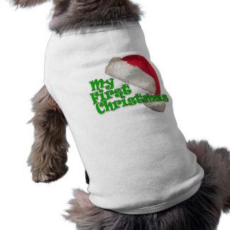 My First Christmas Sleeveless Dog Shirt