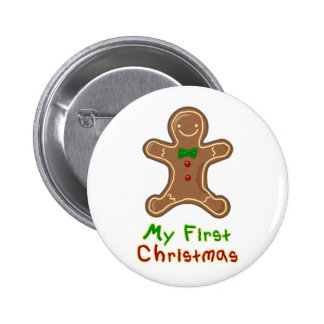My First Christmas Gingerbread Man 6 Cm Round Badge