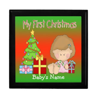 My First Christmas Girl Gift Box/Trinket Box Large Square Gift Box