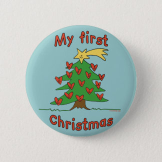 My First Christmas (Happy Tree design) 6 Cm Round Badge
