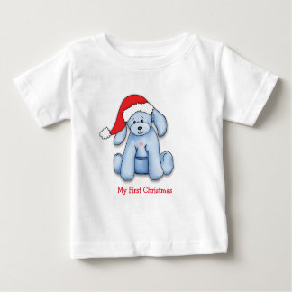 """My First Christmas"" Infant tshirt with blue puppy"