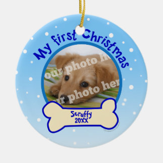 My First Christmas Personalised Photo Dog Ornament