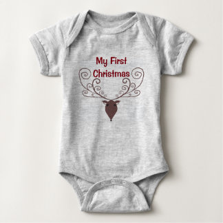 My First Christmas Reindeer. Baby one piece. Baby Bodysuit