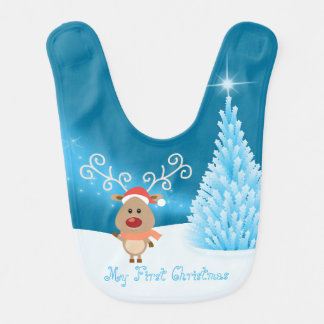 My First Christmas Reindeer Bib