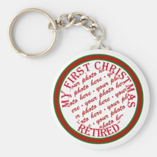 My First Christmas Retired Photo Frame Basic Round Button Key Ring