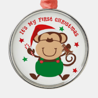 My First Christmas Santa Monkey Silver-Colored Round Decoration